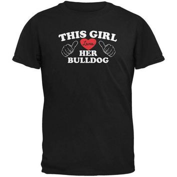 PEAPGQ9 Valentines This Girl Loves Her Bulldog Black Adult T-Shirt
