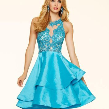 Elegant Short High Neck Ball Gown Crystal Beaded Lace Cocktail Dresses 2017 Featuring Taffeta And Lace Vestido De Coctel Banquet