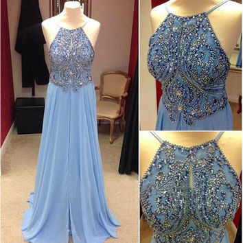 Backless A-Line Beading Prom Dresses