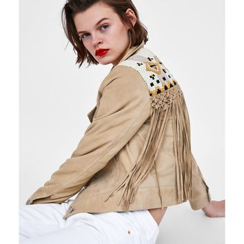 FAUX SUEDE JACKET WITH FRINGING - NEW IN-WOMAN | ZARA United Kingdom