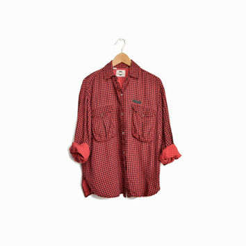 Vintage Faded Utility Shirt in Red Gingham Check - women's small