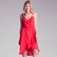 Red Halter V-Neck Ruffle Layer Chiffon Dress