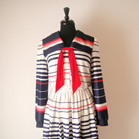 Vintage. 70's Striped Sailor Dress. Nautical Day Dress. Red White Blue. Collar. Bib. Long Sleeves. Pleated Skirt. Retro. Costume. M/L