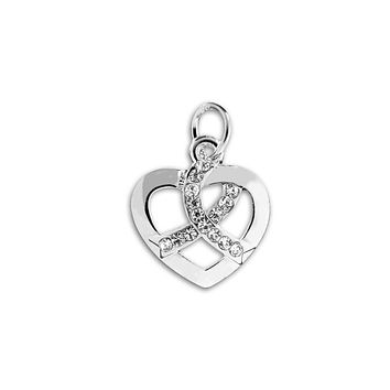 Crystal Ribbon Heart Charm for Autism