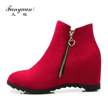 Fanyuan shoes 2017 autumn winter women boots wedges high heels shoes woman pointed toe ankle boots platform motorcycle boots