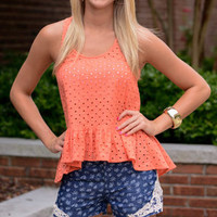 In Love With Eyelet Tank, Coral