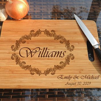 ikb520 Personalized Cutting Board Wood wooden wedding gift anniversary date name family