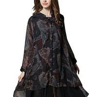 Women's Printing Chiffon Dress Long Sleeve Casual Loose Fitting Plus Size Autumn Spring
