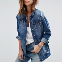 Noisy May Angie Longline Denim Jacket at asos.com