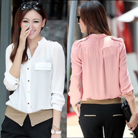 Women's Korean Lady OL Long Sleeve Slim Chiffon Career Shirt Button Blouse Tops