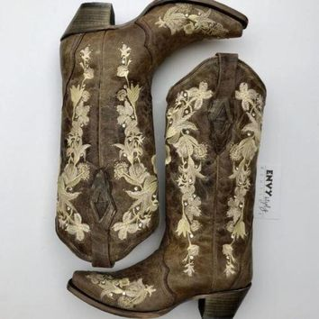 Corral Tobacco Floral Embroidered Crystal and Stud Boots
