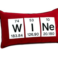 Wine Periodic Table of Elements Throw Pillow