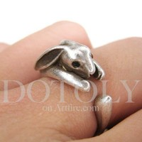 Miniature Bunny Rabbit Animal Wrap Ring in Silver - Sizes 4 to 9
