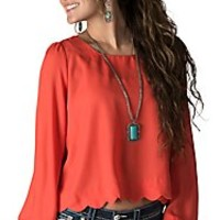 Double Zero Women's Coral with Scalloped Hem and Button Back Long Sleeve Fashion Top