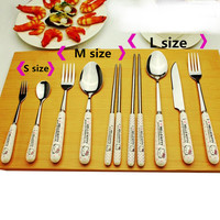 Kitchen dining&bar Hello kitty Cartoon Ceramic Handle Stainless Steel Chopsticks Spoon Fork Tableware 1pcs(not 1 set)B10