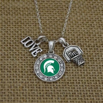 Michigan State Spartans Love Basketball Necklace With Round Crystal Logo