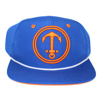 Upside Down Anchor Snapback Hat - YACHT PARTY - Blue / Orange
