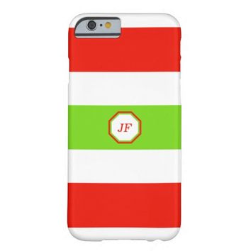 Stripes White Red Green Barely There iPhone 6 Case