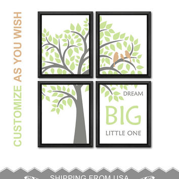 baptism gift bird family on a branch nursery baby boy nursery ideas boys room decor birds in tree boy decor boy nursery art baby quote art