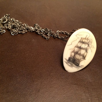 signed scrimshaw necklace on bone, ship, nautical, jewelry