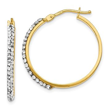 2 x 25mm (1 Inch) 14k Yellow Gold with Swarovski Crystals Round Hoops