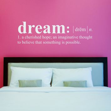 Dream Definition Decal - Dictionary definition Decal - Dream Wall Decal - Large