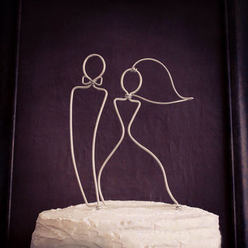 Bride and Groom Wire Designed Cake Topper