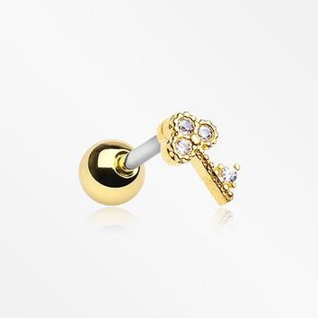Golden Dainty Victorian Sparkle Key Cartilage Tragus Earring