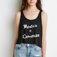"Friends TV Show F.R.I.E.N.D.S ""Monica + Chandler"" Boxy, Cropped Tank Top"