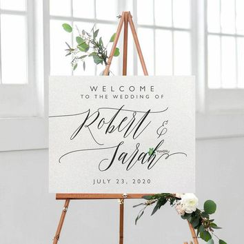 Wedding Sign Decor Welcome toThe Wedding Decal Vinyl Personalised Name Mural Wedding Sign Ceremony Wedding Wall Sticker DIYZW412
