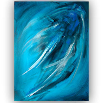 Large Blue Abstract Art Painting - Contemporary Modern Wall Art on Gallery Canvas 30x40 - Title: A WIND WHISPER