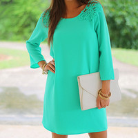 Crochet Winged Dress, Green