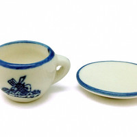 Miniature Cup and Saucer Set Delft