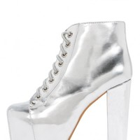 Jeffrey Campbell Shoes LITA The Vault in Silver Mirror