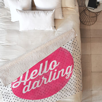 Allyson Johnson Hello Darling Dots Fleece Throw Blanket