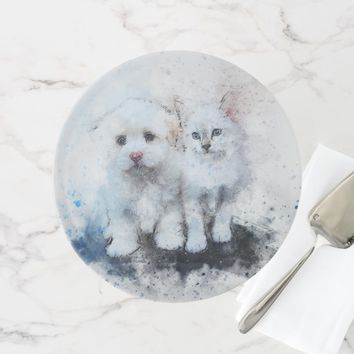 Adorable Cat And dog Watercolor Cake Stand