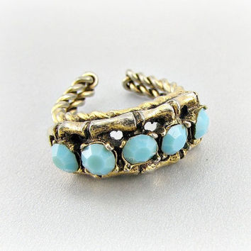 Vintage Gold Bamboo Ring, Aqua Blue Rhinestone Crystal Ring, Turquoise Rhinestone Crystal Ring, Gold Wire Wrapped Ring,1960s Mad Men Jewelry