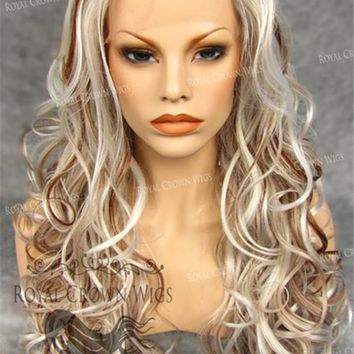 """26 inch Heat Safe Synthetic Lace Front in Curly Texture Wig """"Calypso"""" in White with Dark Blonde Lowlights"""