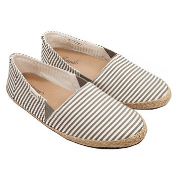Gray Striped Espadrilles