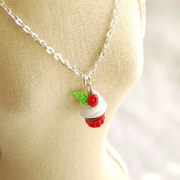 Red Velvet Cupcake Charm Necklace