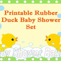 Printable Baby Shower Package, Rubber Duck Baby Shower Package, Printable Baby Shower Set, Rubber Duck Baby Shower