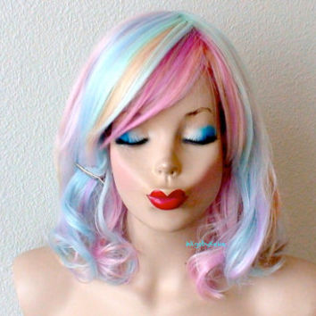 Katy Perry hairstyle inspired wig.  Pastel rainbow color Short wavy hairstyle wig for daily use or cosplay.