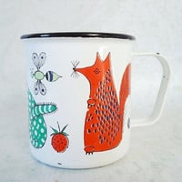 Mid Century Mod Animal Enamel Cup by Finel of Finland - Vintage Finel Finland Childs Mug