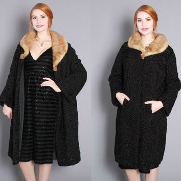 1950s Lilly Dache Black Persian Lamb & Mink COAT / Vintage 50s Designer FUR COAT,