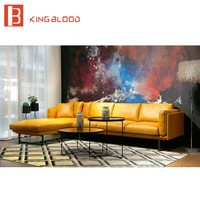 Luxury Modern Sectional  Leather Sofa Furniture Yellow and Black 3Seater+Chaise