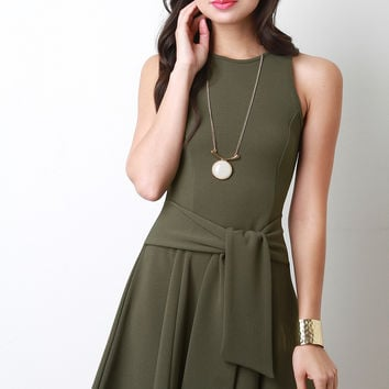 Waist Sash Sleeveless Skater Dress