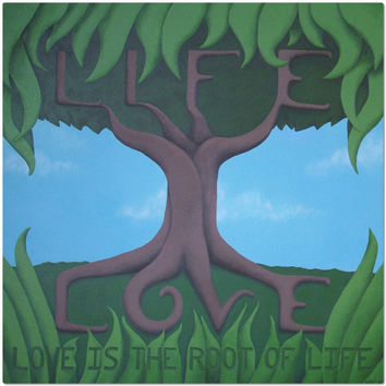 Love is the Root of Life - Placemat of Acrylic Paint Fine Art