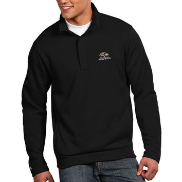 Baltimore Ravens Antigua Victor Quarter Zip Pullover Jacket – Black