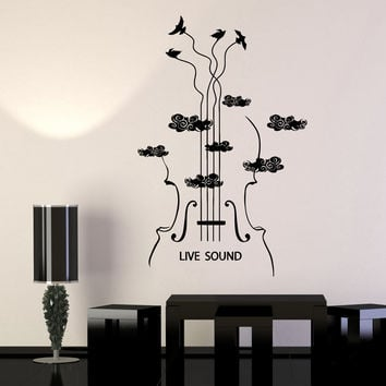 Vinyl Wall Decal Violin Musical Instrument Store Musician Birds Stickers Unique Gift (1062ig)