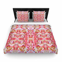 "Carolyn Greifeld ""Floral Reflections"" Pink Red Woven Duvet Cover"
